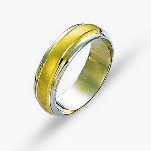Item # 114211 - 14 kt two-tone hand made comfort fit Wedding Band 6.0 mm wide. The center of the ring is a satin matte finish and the outer edges are polished. Different finishes may be selected or specified.
