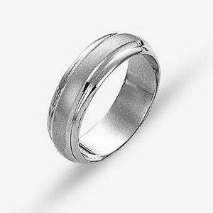 Item # 114211WE - 18 kt white gold, hand made comfort fit Wedding Band 6.0 mm wide. The center of the ring is a satin matte finish and the outer edges are polished. Different finishes may be selected or specified.