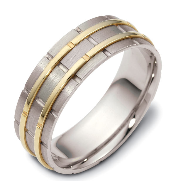 Item # 114251E - 18 kt two-tone hand made comfort fit Wedding Band 6.5 mm wide. The raised pieces are polished and the rest is matte. Different finishes may be selected or specified.