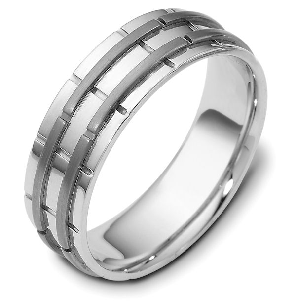 Item # 114251TG - 14 kt white gold and titanium, comfort fit, 6.5 mm wide wedding band. The raised pieces are polished and the rest is matte. Different finishes may be selected or specified.