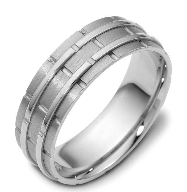 Item # 114251W - 14 kt white gold, hand made comfort fit Wedding Band 6.5 mm wide. The raised pieces are polished and the rest is matte. Different finishes may be selected or specified.