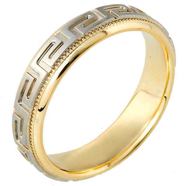 Item # 114261E - 18 kt two-tone hand made comfort fit Wedding Band 6.0 mm wide. The ring has the greek key pattern around the whole band with a milgrain on each side. The center is matte and the outer edges are polished. Different finishes may be selected or specified.