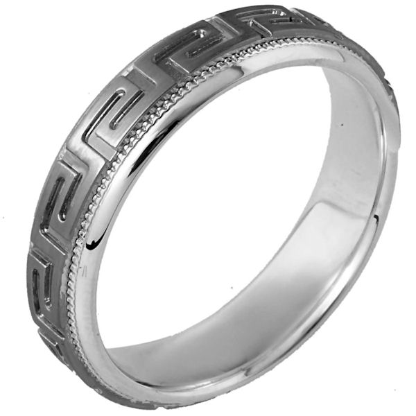 Item # 114261TG - 14 kt white gold and titanium, comfort fit, 6.0 mm wide wedding band. The ring has the greek key pattern around the whole band with a milgrain on each side. The center is matte and the outer edges are polished. Different finishes may be selected or specified.