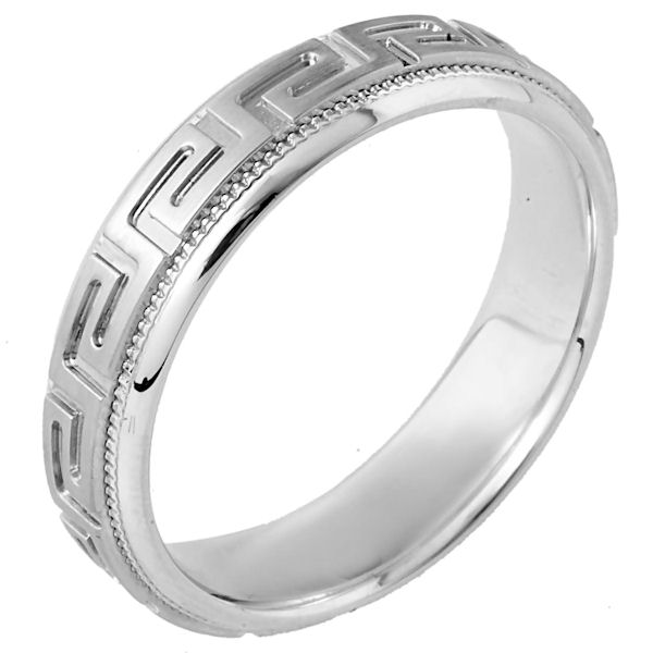 Item # 114261WE - 18 kt white gold, hand made comfort fit Wedding Band 6.0 mm wide. The ring has the greek key pattern around the whole band with a milgrain on each side. The center is matte and the outer edges are polished. Different finishes may be selected or specified.