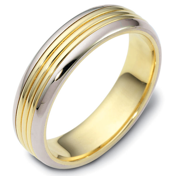 Item # 114271E - 18kt Two-tone gold classic, comfort fit, 6.0mm wide wedding band. The ring has a polished finish. Different finishes may be selected or specified.