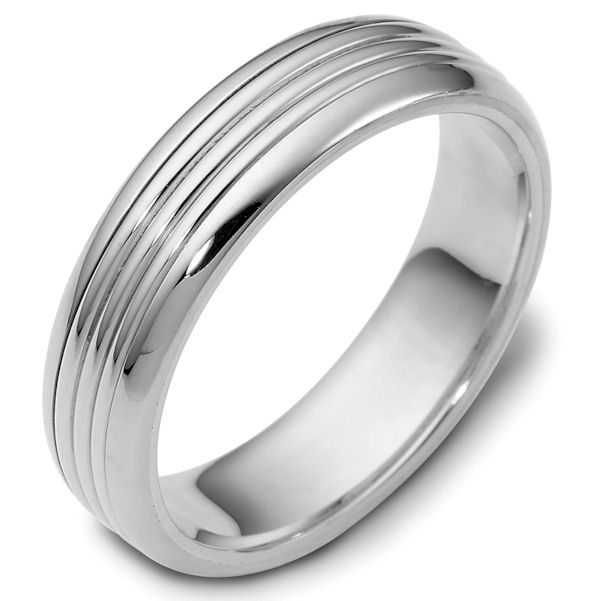 Item # 114271W - 14kt White gold classic, comfort fit, 6.0mm wide wedding band. The ring has a polished finish. Different finishes may be selected or specified.