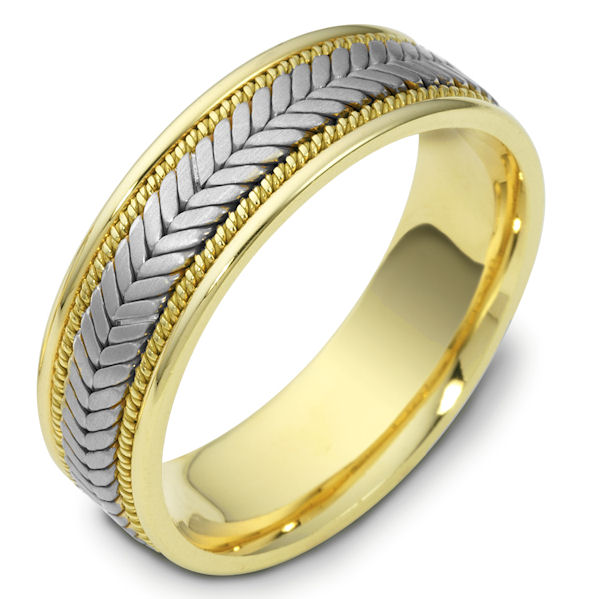 Item # 114301 - 14 kt two-tone hand made comfort fit Wedding Band 7.0 mm wide. The ring has a handmade braid in the center with one hand crafted rope on each side of the the braid. The center is matte and the outer edges are polished. Different finishes may be selected or specified.