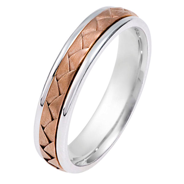 Item # 114341E - 18 kt hand made comfort fit Wedding Band 5.0 mm wide. The ring has a hand made braid in the center that is a brush finish. The outer edegs are polished. Different finishes may be selected or specified.