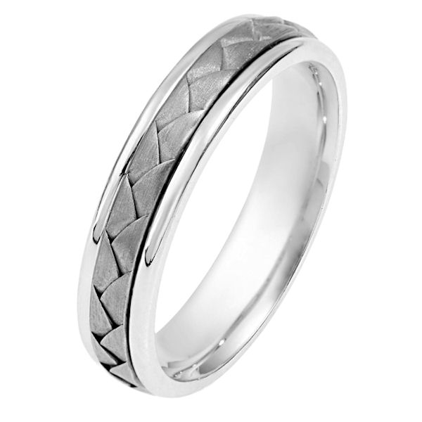Item # 114341PP - Platinum hand made comfort fit Wedding Band 5.0 mm wide. The ring has a hand made braid in the center that is a brush finish. The outer edegs are polished. Different finishes may be selected or specified.