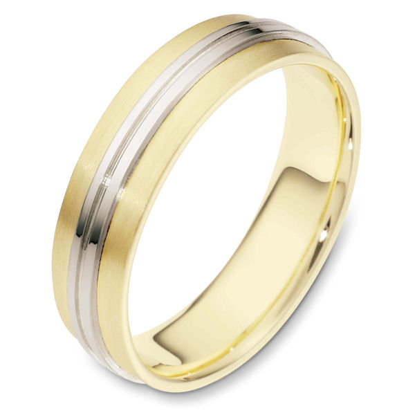 Item # 114441E - 18 kt two-tone hand made comfort fit Wedding Band 6.0 mm wide. The center of the ring is polished and the rest is matte. Different finsihes may be selected or specified.