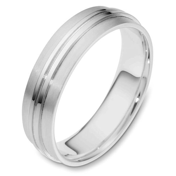 Item # 114441W - 14 kt white gold, hand made comfort fit Wedding Band 6.0 mm wide. The center of the ring is polished and the rest is matte. Different finsihes may be selected or specified.
