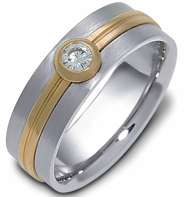 Item # 114681E - 18 K two-tone 6.0 mm wide, 0.15 ct center VS1 in clarity H in color diamond ring. The bezel around the diamond and the center are polished. The rest of the ring is a satin brush finish. Different finishes may be selected or specified.