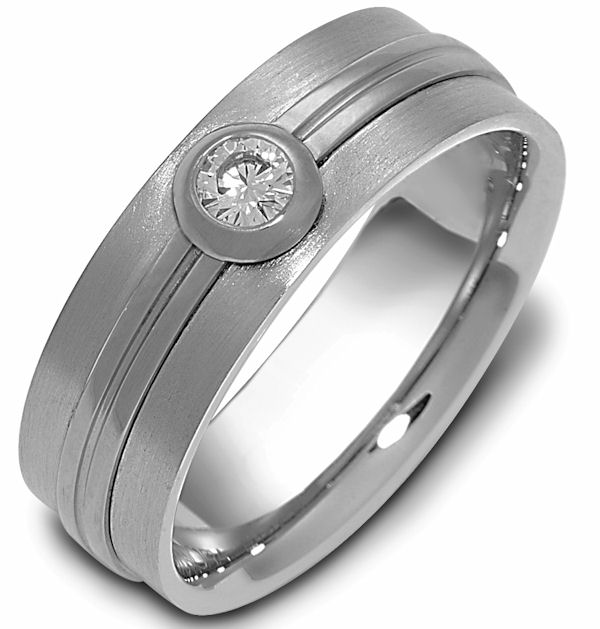 Item # 114681W - 14 K white gold, 6.0 mm wide, 0.15 ct center VS1 in clarity H in color diamond ring. The bezel around the diamond and the center are polished. The rest of the ring is a satin brush finish. Different finishes may be selected or specified.