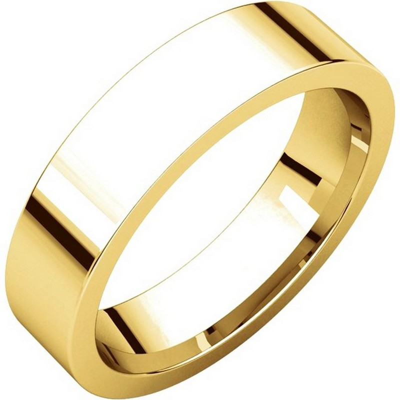 Item # 114751 - 14K yellow gold comfort fit, 5.0 mm wide, flat, plain wedding band. The ring is completely polished. Different finishes may be selected or specified.