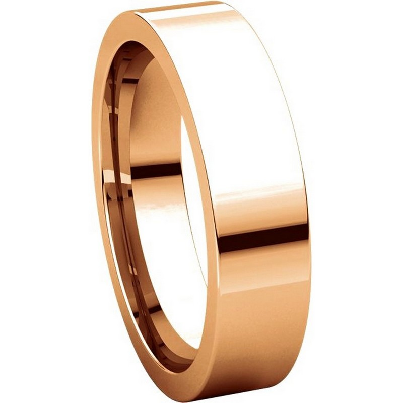 Item # 114751R View 5 - 14K Rose Gold Comfort fit 5mm Plain Wedding Band