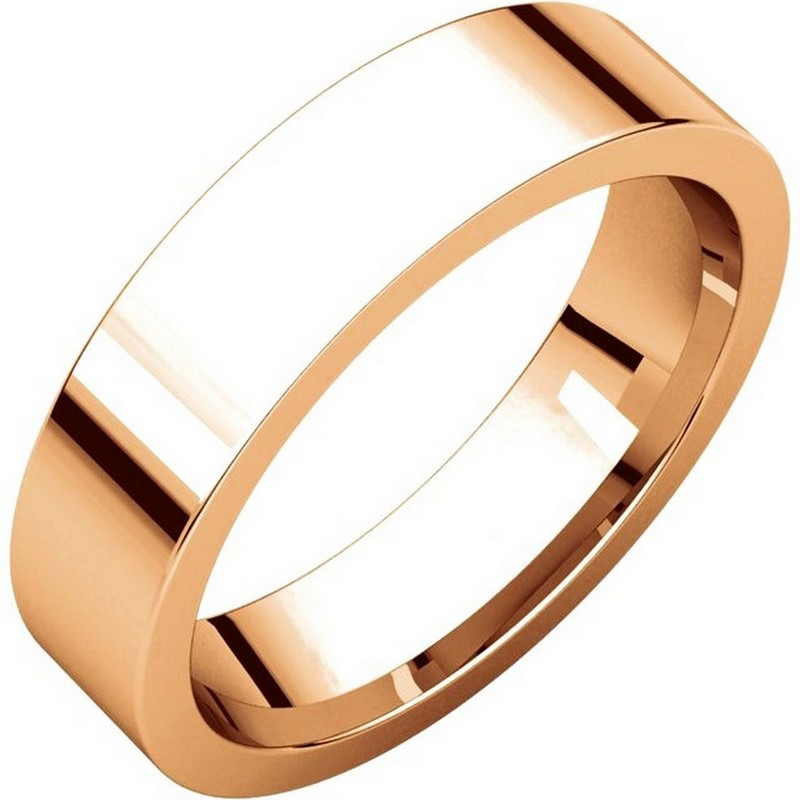 Item # 114751RE - 18 kt Rose Gold Plain 5.0 mm Wide Flat Comfort Fit Wedding Band. The ring is completely polished. Different finishes may be selected or specified.