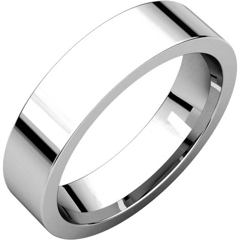 Item # 114751WE - 18 kt White Gold Plain 5.0 mm Wide Flat Comfort Fit Wedding Band. The ring is completely polished. Different finishes may be selected or specified.