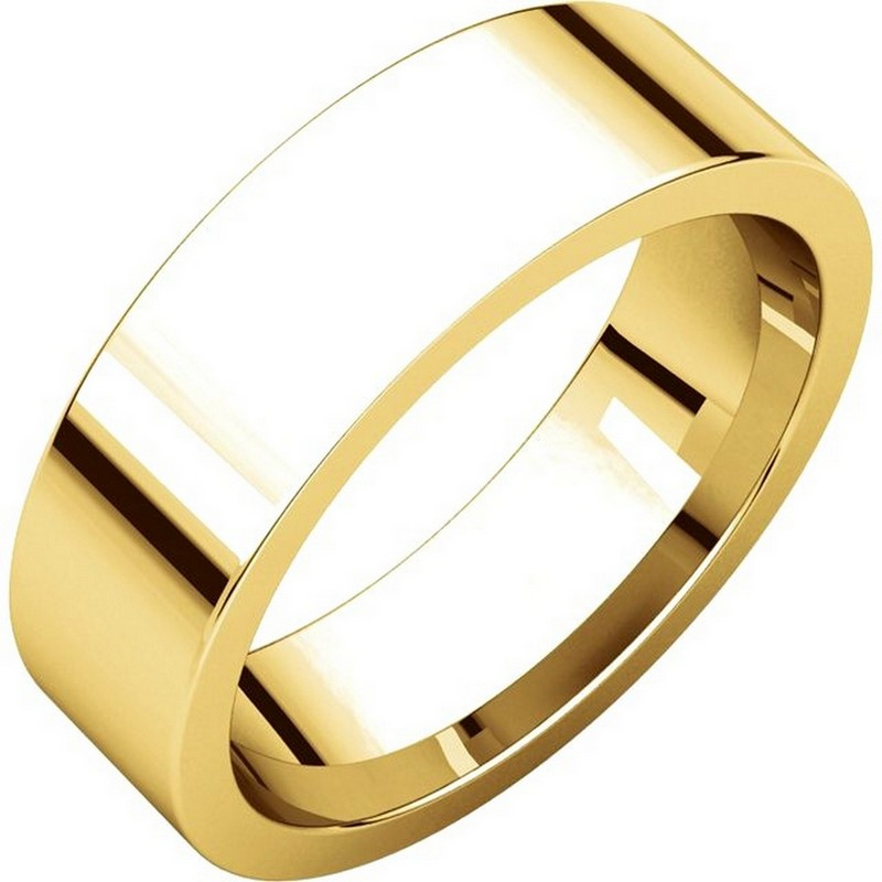 14K Gold Flat Comfort fit 6mm Wide Wedding Band