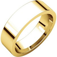 18K Yellow Gold Flat Comfort fit 6mm Wide Wedding Band