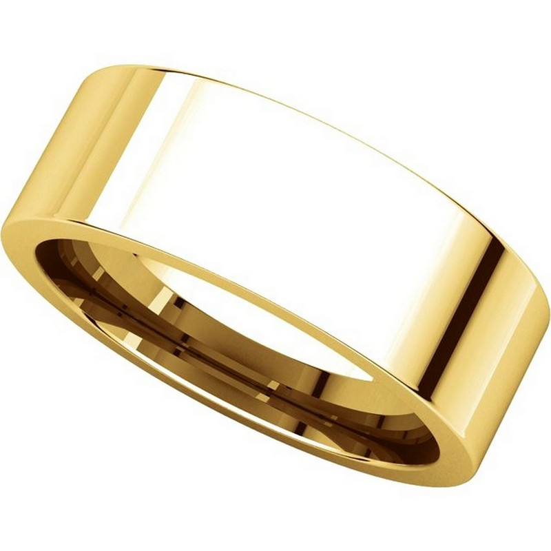 Item # 114771E View 4 - 18K Yellow Rose Flat Comfort Fit Plain Wedding Band