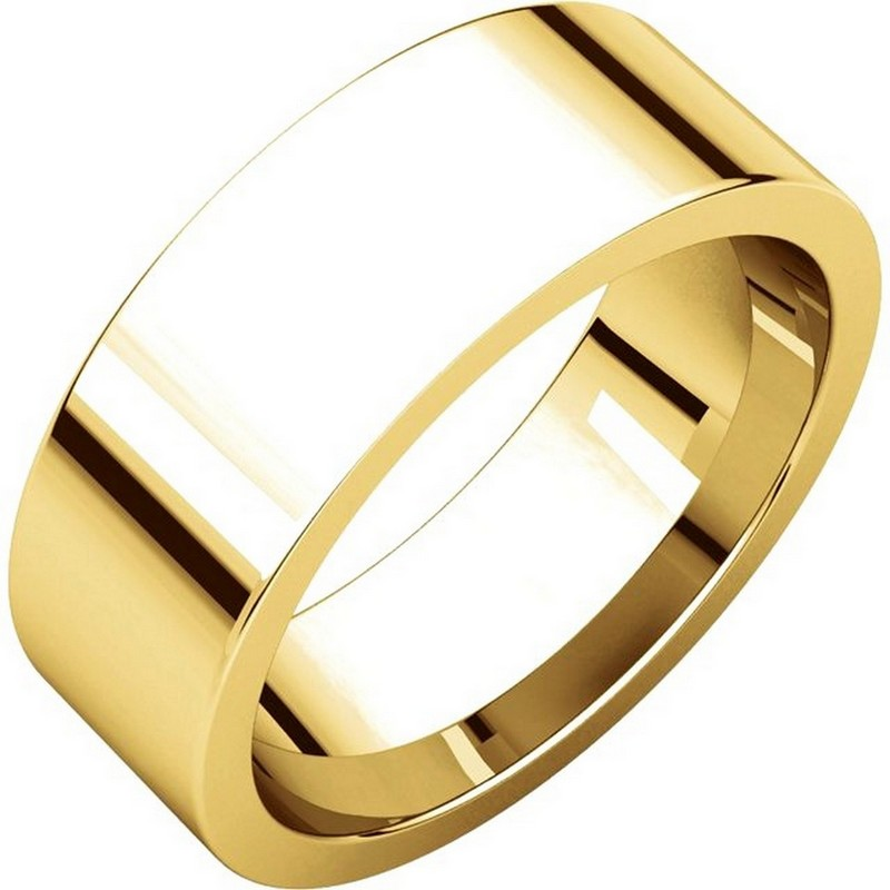 Item # 114771E - 18K Yellow gold, plain, 7.0 mm wide, flat, comfort fit wedding band. The ring is completely polished. Different finishes may be selected or specified.