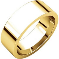 Item # 114771E - 18K Yellow Rose Flat Comfort Fit Plain Wedding Band