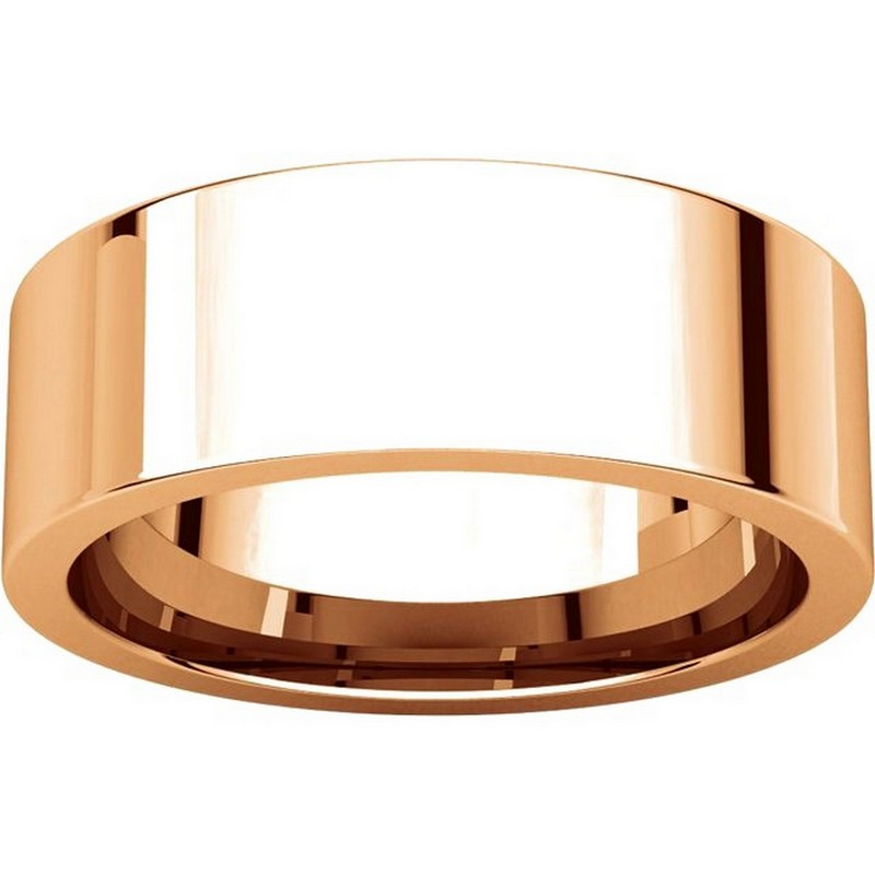 Item # 114771R View 3 - 14K Rose Flat 7mm Comfort Fit Plain Band