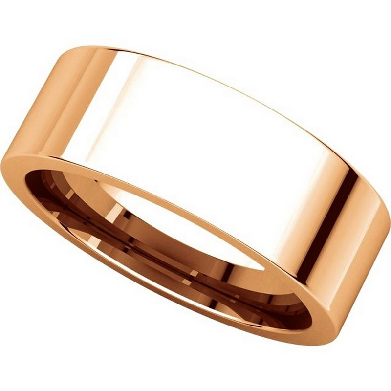 Item # 114771R View 4 - 14K Rose Flat 7mm Comfort Fit Plain Band