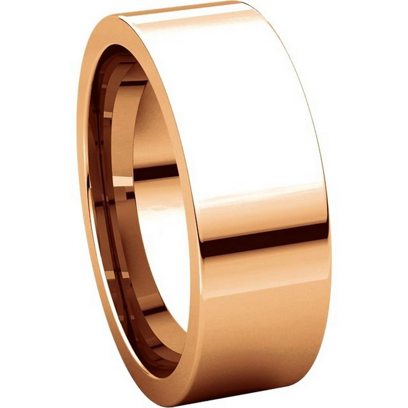 Item # 114771R View 5 - 14K Rose Flat 7mm Comfort Fit Plain Band