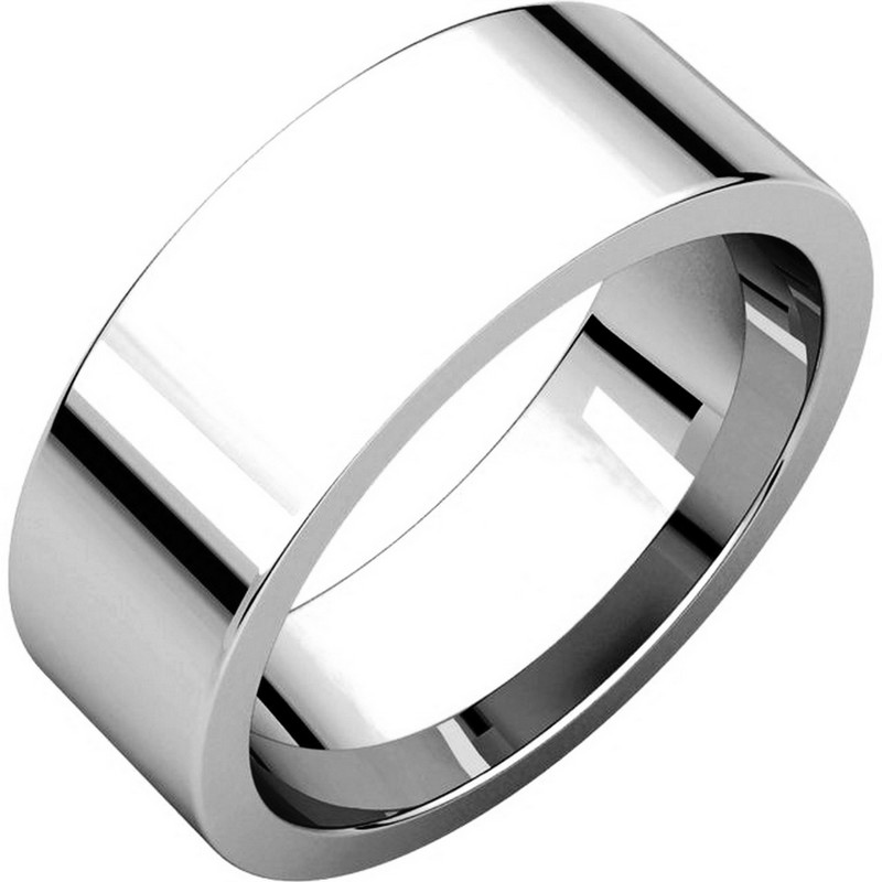 Item # 114771WE - 18K white gold, plain, 7.0 mm wide, flat, comfort fit wedding band. The ring is completely polished. Different finishes may be selected or specified.