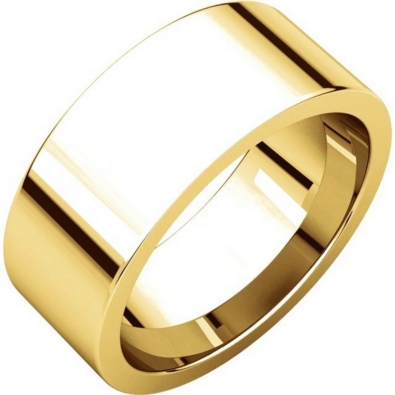 Item # 114781 - 14 kt Yellow Gold Comfort Fit, 8.0 mm wide plain wedding band. The ring is completely polished. Different finishes may be selected or specified.