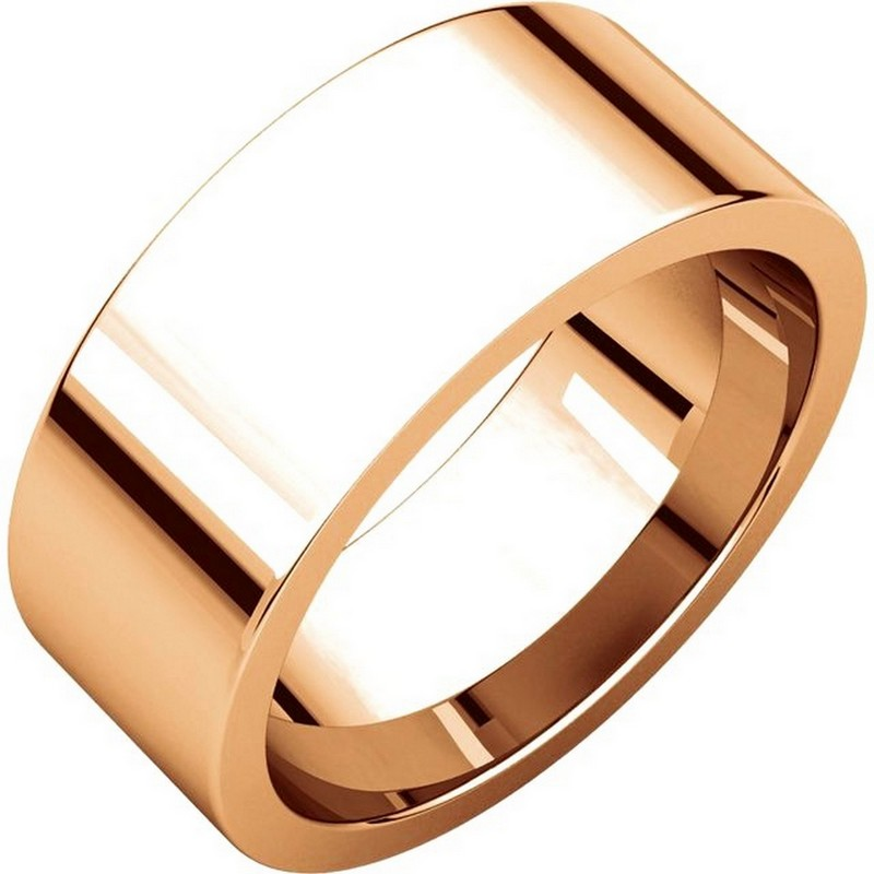 Item # 114781RE - 18 kt Rose Gold Plain 8.0 mm Wide Flat Comfort Fit Wedding Band. The ring is completely polished. Different finishes may be selected or specified.