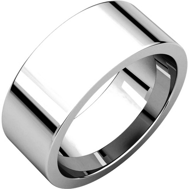 Item # 114781WE - 18 kt White Gold Plain 8.0 mm Wide Flat Comfort Fit Wedding Band. The ring is completely polished. Different finishes may be selected or specified.