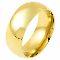 18K Gold 9mm Wide Domed  His and Hers Wedding Ring