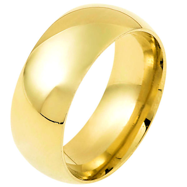 Item # 114841E - 18 kt gold plain 9.0 mm wide half round, high dome  wedding band. The ring is completely polished. Different finishes may be selected or specified.
