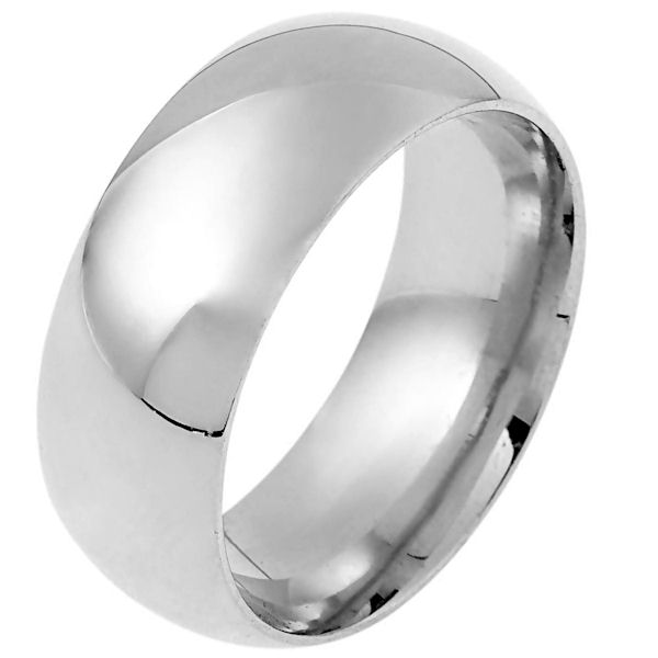 Item # 114841WE - 18 kt White gold plain 9.0 mm wide Half round,  high dome  wedding Band. The ring is completely polished. Different finishes may be selected or specified.