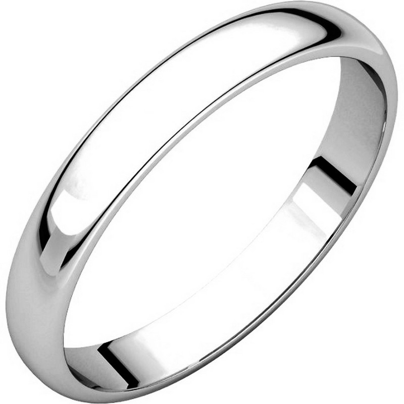 Item # 114851PP - Platinum Plain 3.0 mm Wide Half Round Wedding Band.The ring is completely polished. Different finishes may be selected or specified.