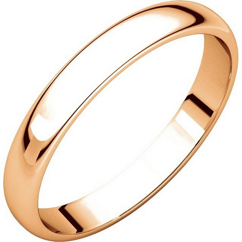 Item # 114851R - 14 kt Rose Gold Plain 3.0 mm Wide Half Round Wedding Band. The ring is completely polished. Different finishes may be selected or specified.