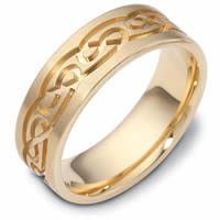Item # 114881 - 14 K Gold 7.0mm Wide, Comfort Fit, Celtic Wedding Band