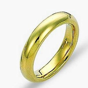 Item # 115011E - 18kt yellow gold very heavy 2.55mm thick comfort fit Wedding Band 4.5 mm wide.