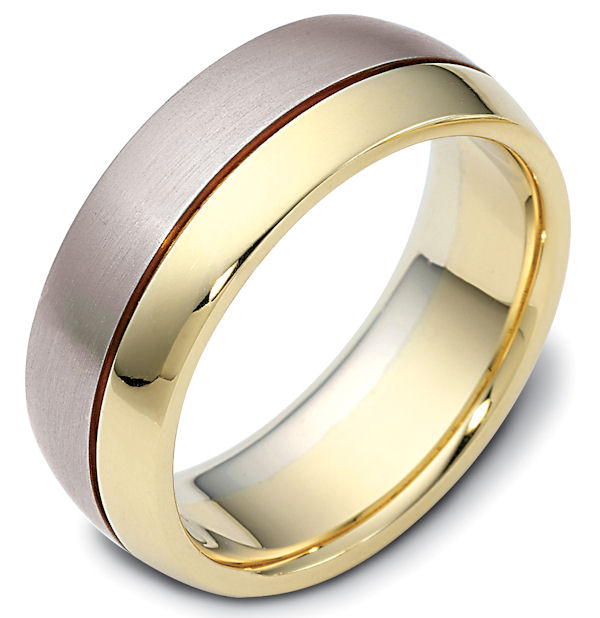 Item # 115081E - 18kt Two-tone gold classic, comfort fit, 8.0mm wide wedding band. One portion of the ring is matte finish and the other is polished. Different finishes may be selected or specified.