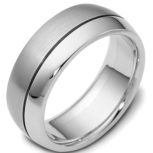 Item # 115081PD - Palladium classic, comfort fit, 8.0mm wide wedding band. One portion of the ring is matte finish and the other is polished. Different finishes may be selected or specified.