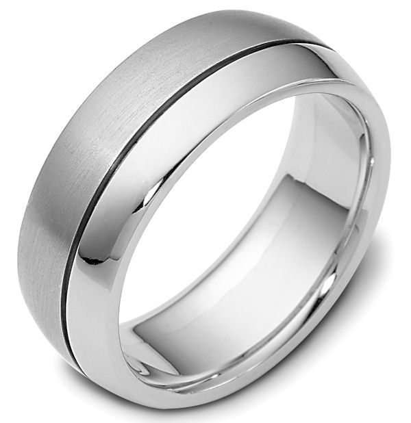 Item # 115081WE - 18kt White gold classic, comfort fit, 8.0mm wide wedding band. One portion of the ring is matte finish and the other is polished. Different finishes may be selected or specified.