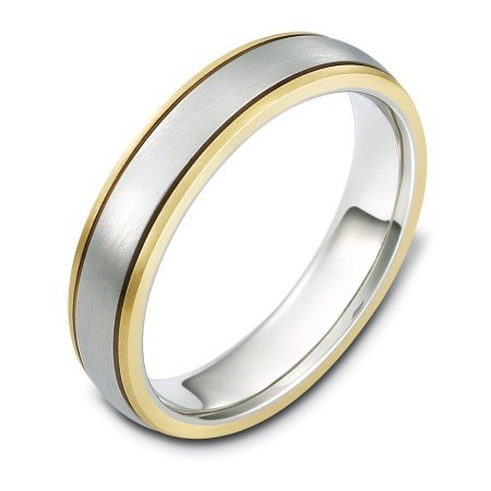Item # 115091E - 18 kt two-tone hand made comfort fit Wedding Band 5.0 mm wide. The whole ring is a matte finish. Different finishes may be selected or specified.