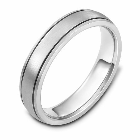 Item # 115091WE - 18 kt white gold, hand made comfort fit Wedding Band 5.0 mm wide. The whole ring is a matte finish. Different finishes may be selected or specified.