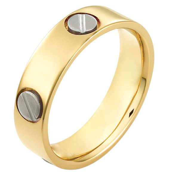 Item # 115151E - 18 kt two-tone hand made comfort fit Wedding Band 6.0 mm wide. The ring has fasteners that resembles screws. These are around the whole ring. The ring has a matte finish. Different finishes may be selected or specified.
