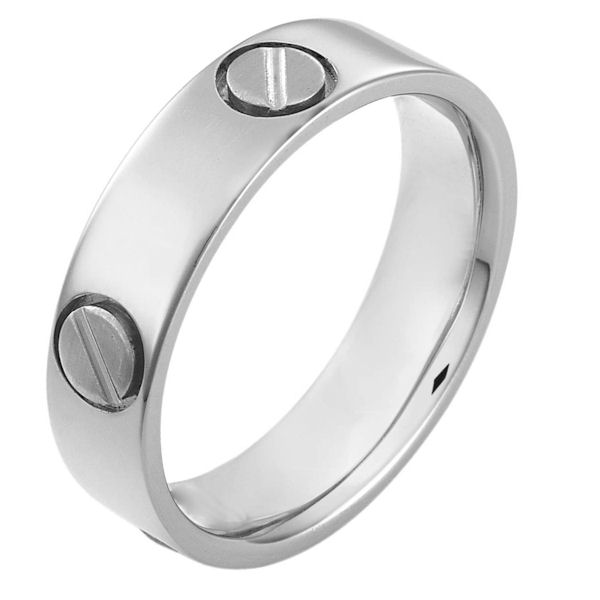 Item # 115151WE - 18 kt white gold, hand made comfort fit Wedding Band 6.0 mm wide. The ring has fasteners that resembles screws. These are around the whole ring. The ring has a matte finish. Different finishes may be selected or specified.