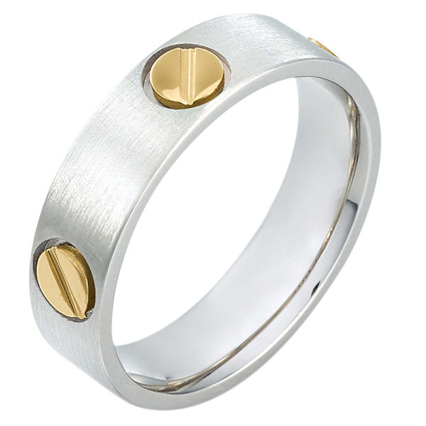 Item # 115171E - 18 kt two-tone hand made comfort fit Wedding Band 6.0 mm wide. The ring has fasteners that resembles screws. These are around the whole ring. The ring has a matte finish. Different finishes may be selected or specified.