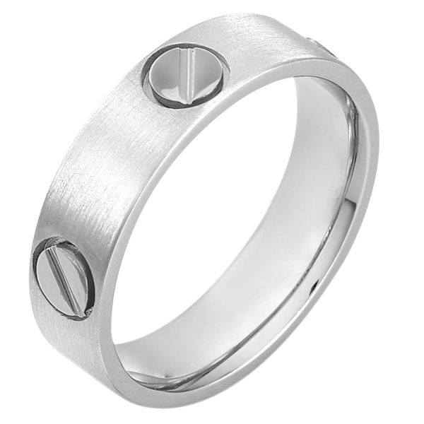 Item # 115171WE - 18 kt white gold, hand made comfort fit Wedding Band 6.0 mm wide. The ring has fasteners that resembles screws. These are around the whole ring. The ring has a matte finish. Different finishes may be selected or specified.