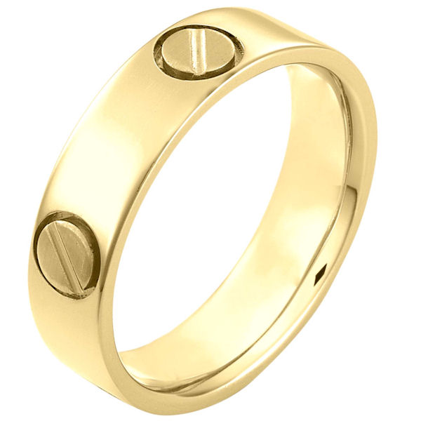 Item # 115191E - 18 kt yellow Gold hand made comfort fit Wedding Band 6.0 mm wide. The ring has fasteners that resembles screws. These are around the whole ring. The ring has a matte finish. Different finishes may be selected or specified.